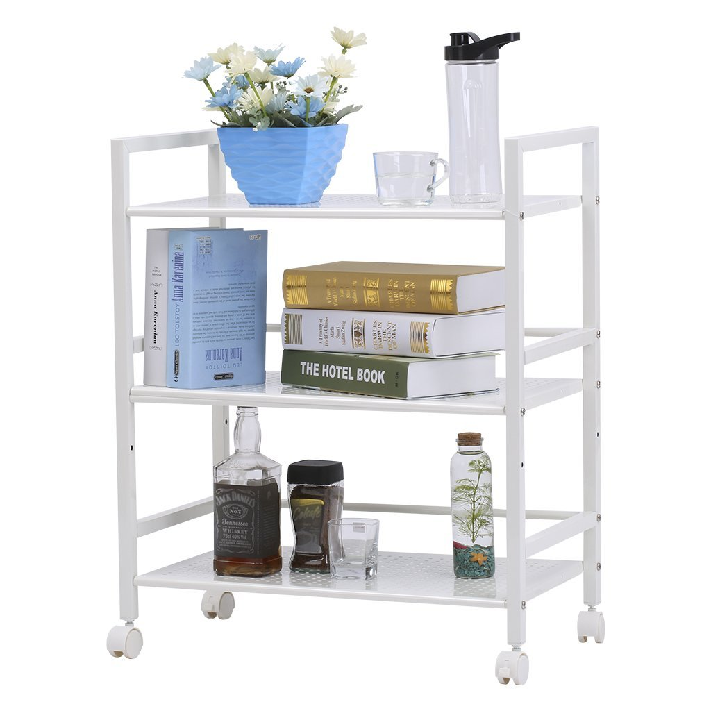 LANGRIA 3-Tier Wire Mesh Rolling Cart for Serving Utility Organization Kitchen Cart Easy Moving Flexible Wheels