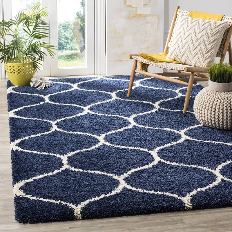 Safavieh Hudson Shag Collection Moroccan Ogee Plush Are Rug in Blue 5'1