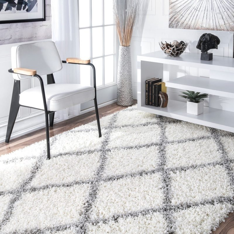 "NuLOOM Cozy Soft Plush Diamond Trellis Shag Area Rug 5'3"" x 7'6"" $82.22"