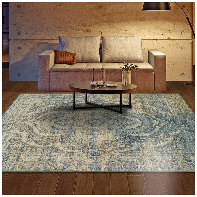 Superior Salford Collection Area Rug Distressed Design in Blue and Beige 5' x 8' $79.99