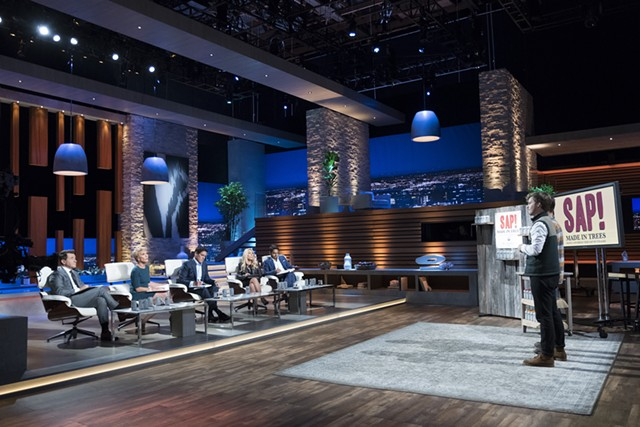 "Chas Smith makes a pitch for his beverage company Sap! on ABC's hit television series ""Shark Tank."""