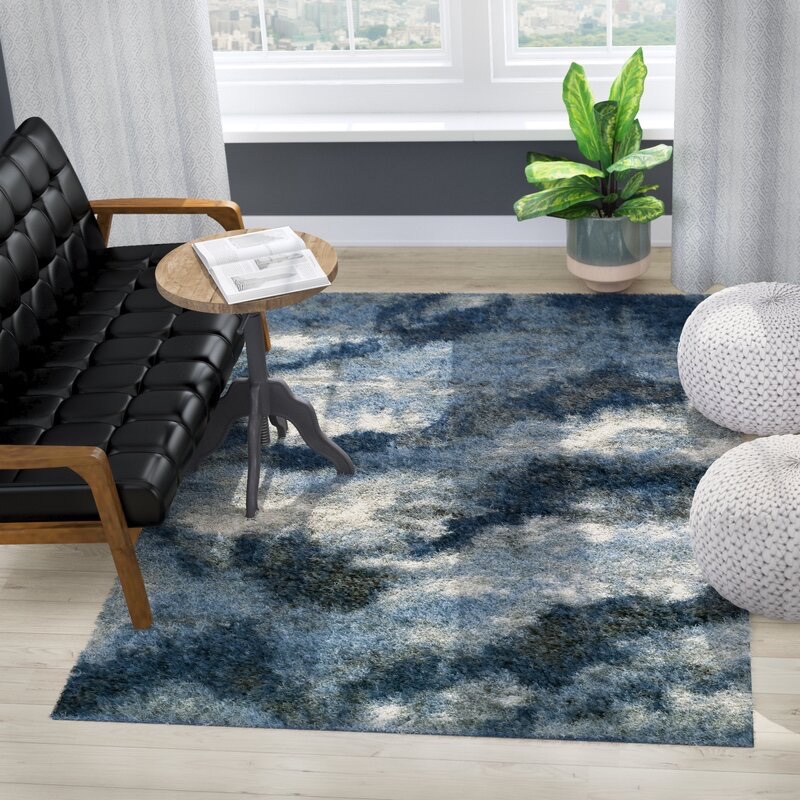 17 Stories Zhora Abstract Shag Navy Area Rug $389.99