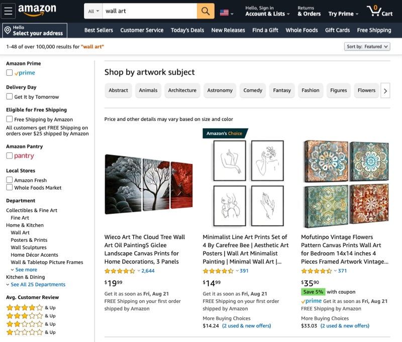 Amazon Artwork Wall Art