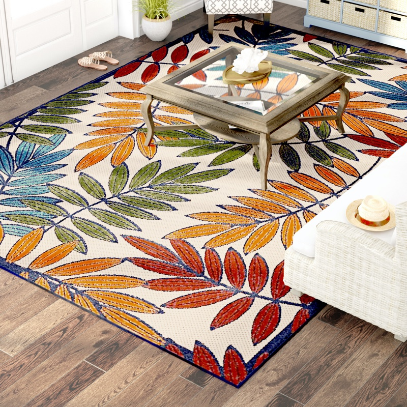 Beachcrest Home Farley Floral Gold/Green/Blue Indoor Outdoor Area Rug $46.99 - $339.99