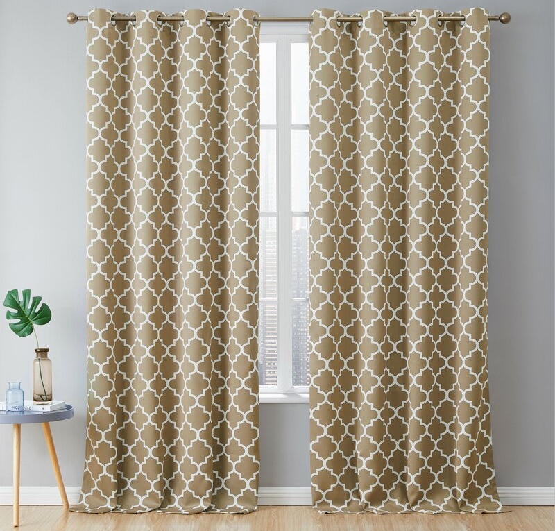 Andover Mills Temescal Lattice Geometric Blackout Curtain Panels in Taupe $25.64