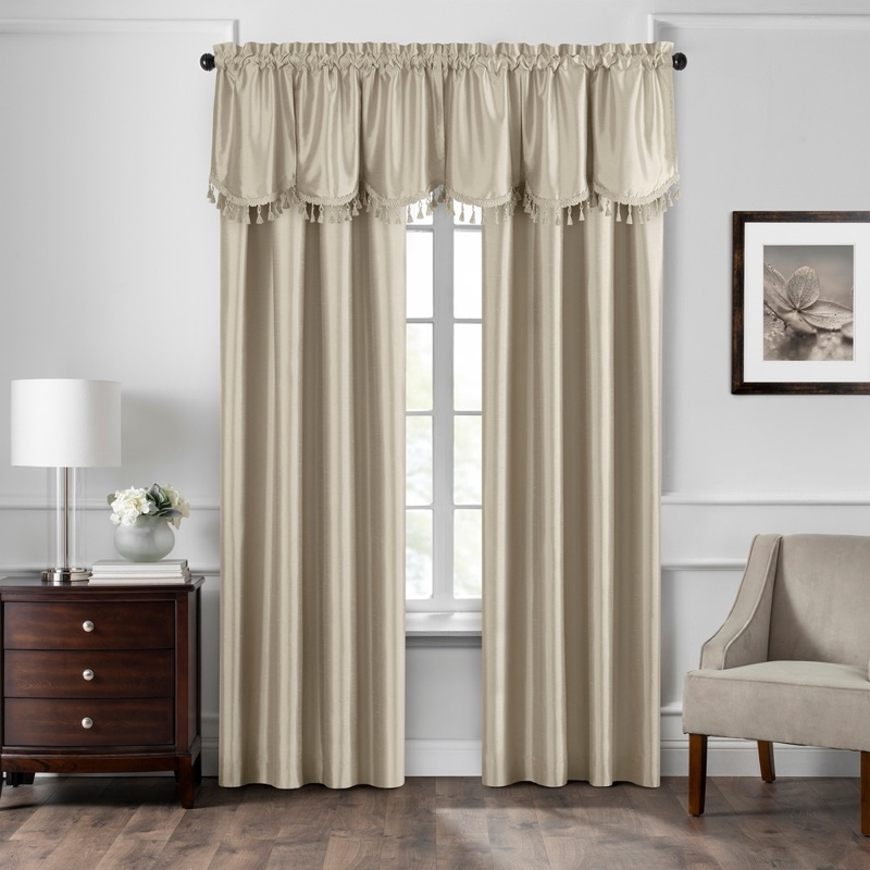 "Gracewood Hollow Fukuyama Faux Silk Tassel Scalloped Window Valance in Taupe 48""x21"" $24.22"