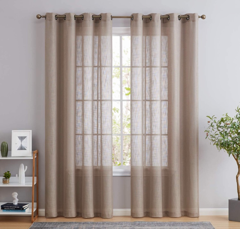 HLC.ME Abbey Faux Linen Textured Semi Sheer Curtains in Taupe $24.99