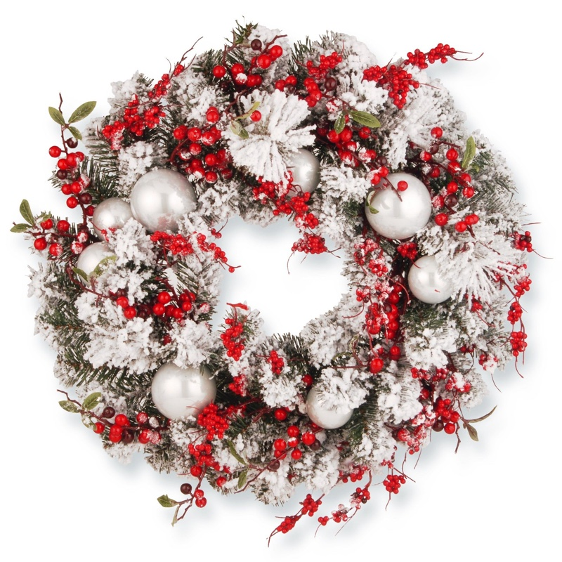 "The Holiday Aisle 24"" Christmas Wreath with Red Berries and Silver Balls $54.99"