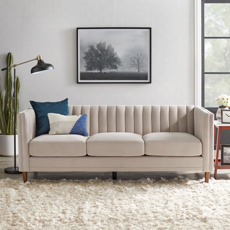 Lifestorey Paxton Channel Back Tuxedo Sofa in Taupe Velvet $889.49