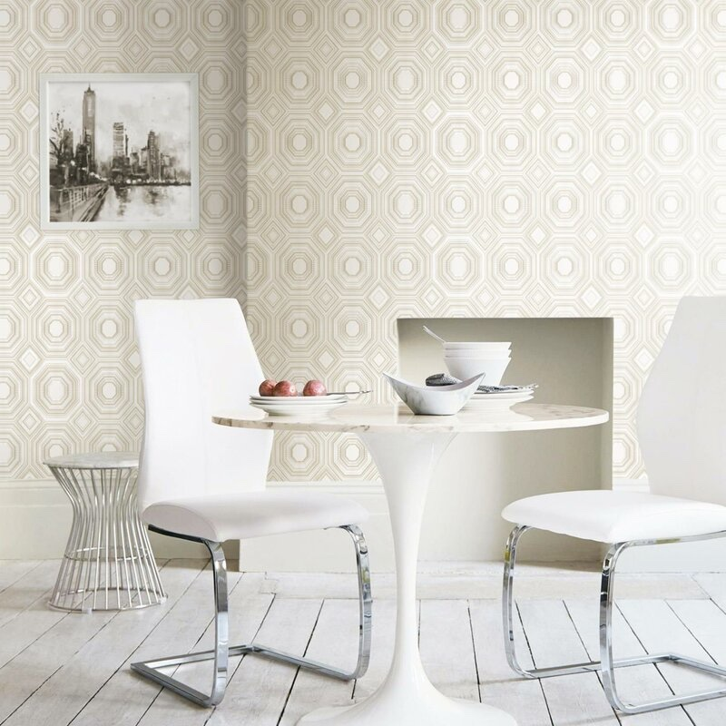 "Mercer41 Treadwell Bees Knees 16.5"" x 16.5"" Smooth Peel & Stick Wallpaper in Beige $1.38/sq. ft."