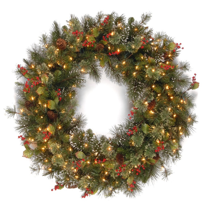 "National Tree Company 36"" Wintry Pine Wreath with Clear Lights $85.94"