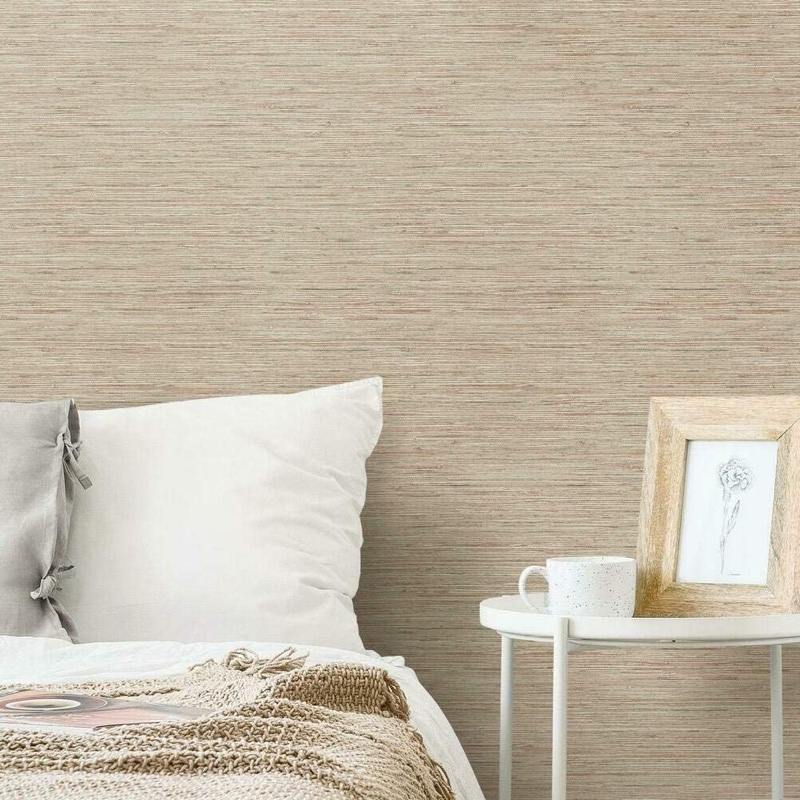RoomMates Pink & Taupe Grasscloth Peel Stick Removable Wallpaper $34.99