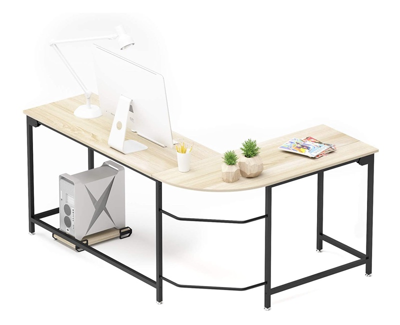 Teraves Modern L-Shaped Wood & Steel Desk in Beige $165.99