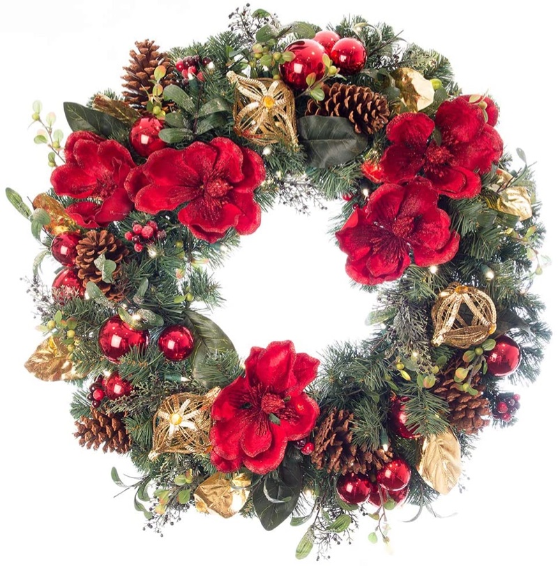 Village Lighting Company Red Magnolia Collection Red & Gold Wreath $129.99