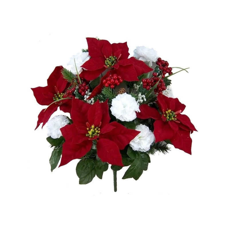 Admired by Nature Faux Velvet Poinsettia Carnation Berry Christmas Bush $21.24