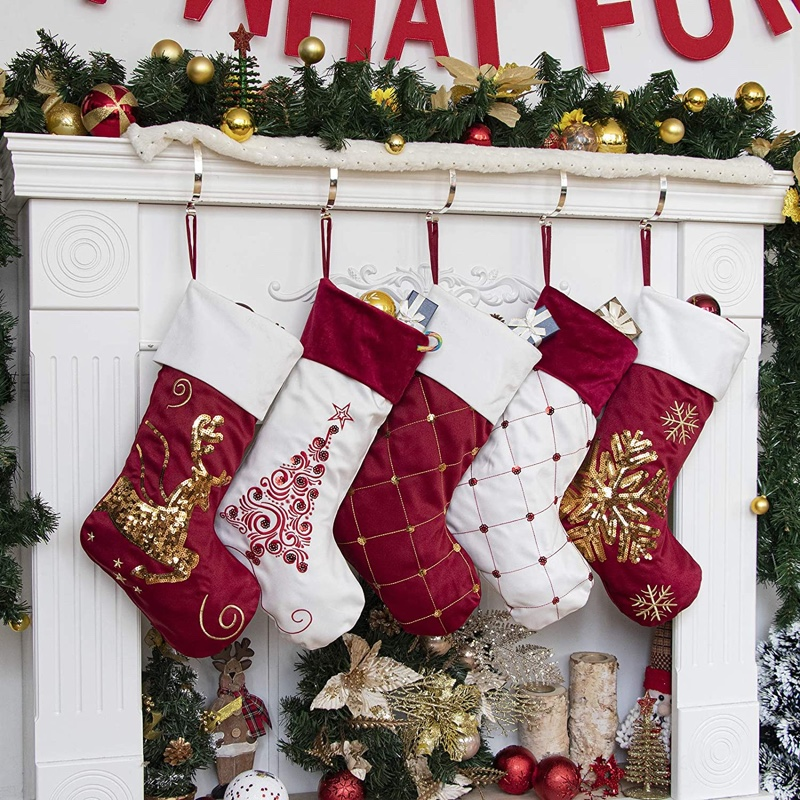 GEX Family Christmas Stockings Set of 5 with Embroidery & Sequins $32.99