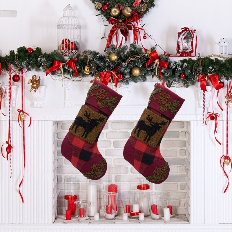 "Glitzhome 19"" Plaid Hooked Stocking with Reindeer & Bear $31.49"