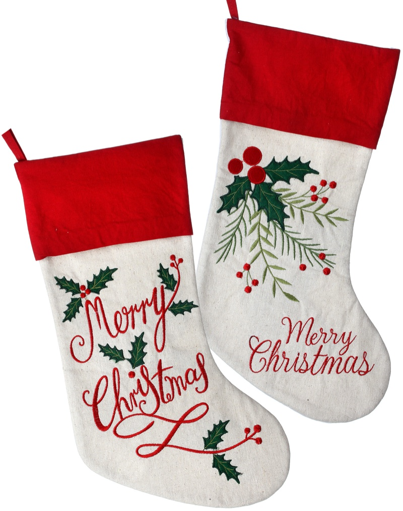 The Holiday Aisle 2 Piece Embroidered Merry Christmas Stocking Set $41.99