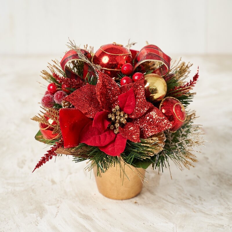 The Holiday Aisle Plaid Ribbon Poinsettia Centerpiece in Pot $71.99