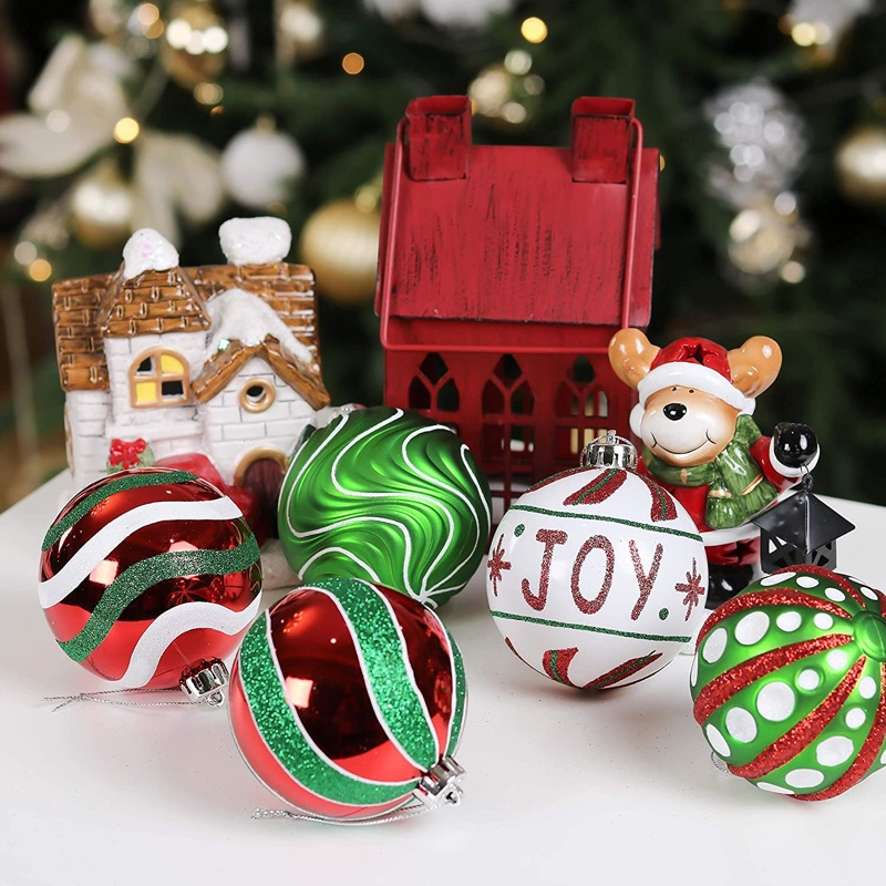Valery Madelyn 16 ct Green, Red & White Christmas Ball Ornaments $29.99