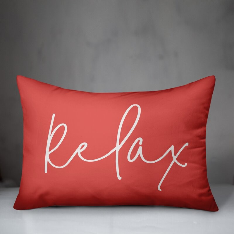 Andover Mills Mcgee Relax Thin Outdoor Rectangular Pillow Cover Insert in Coral $26.99