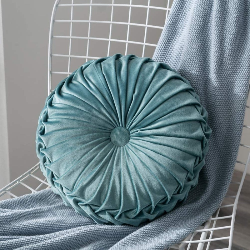 Artifun Velvet Pleated Round Pumpkin Throw Pillow $24.99