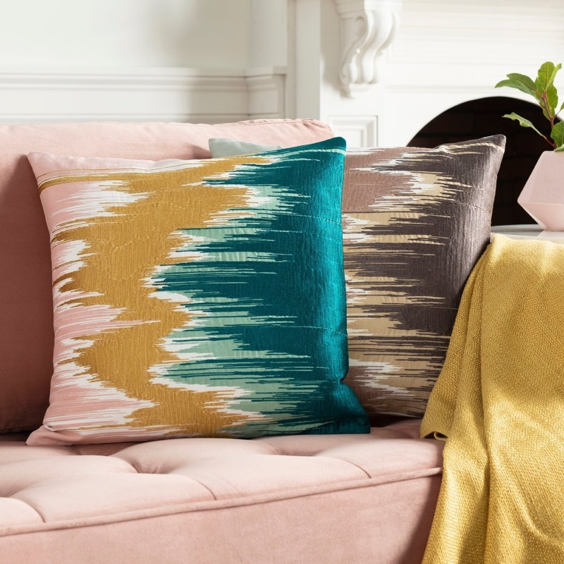 Artistic Weavers Lena Modern Hand Embroidered Throw Pillow Cover in Teal $30.14