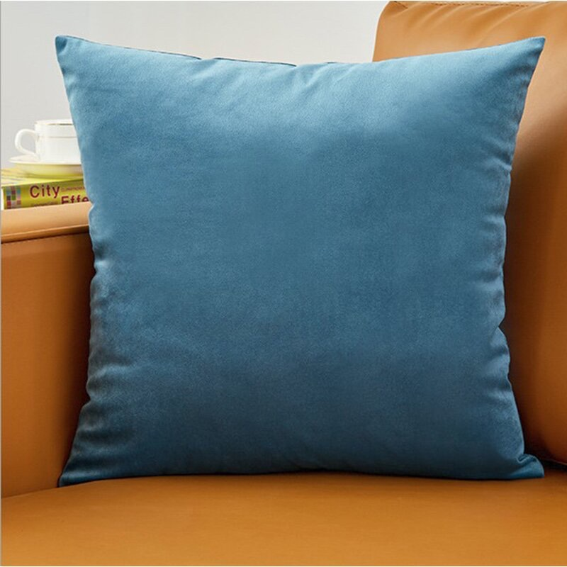 Latitude Run Erla Velvet Throw Pillow (Set of 2) in Blue $44.63