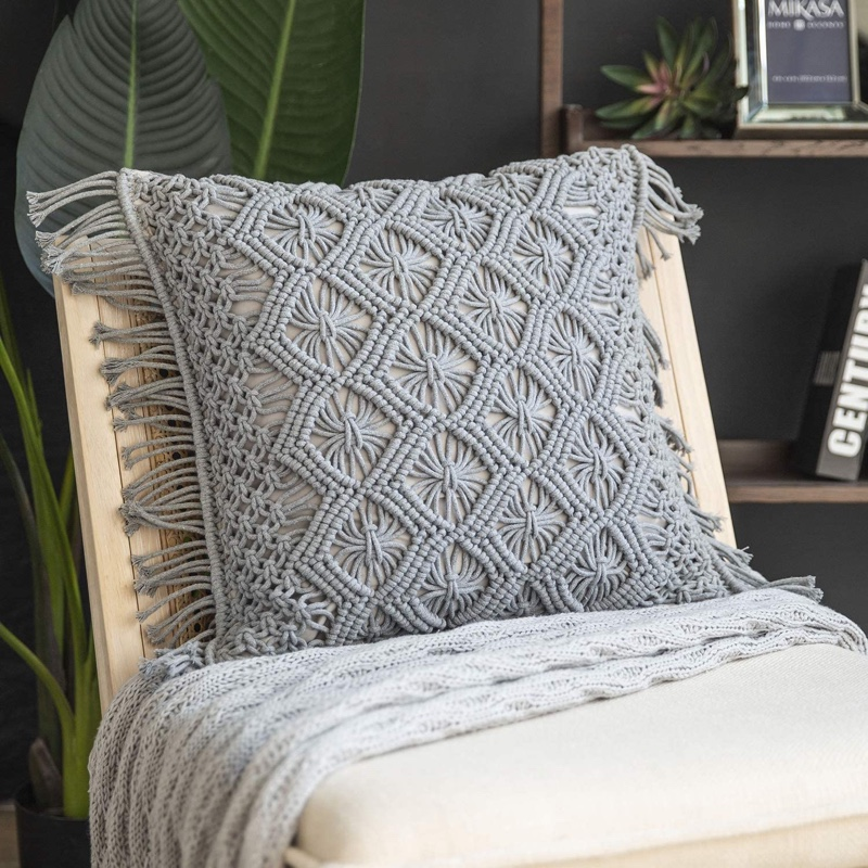 Phantoscope Crochet Diamond Woven Boho Fringe Pillow in Grey $28.99