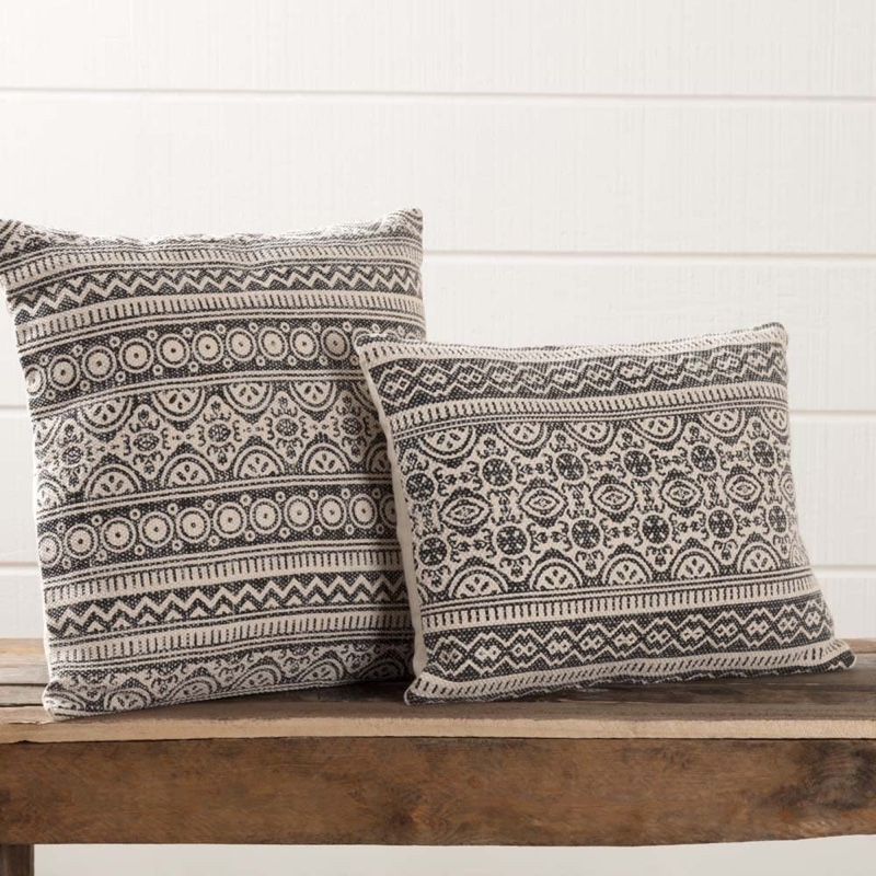 Piper Classics Graphic Grey Throw Pillow with Boho Tribal Geometric Print $37.99