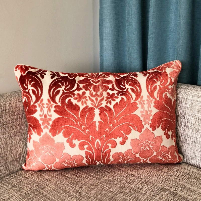 Rodeo Home Marsel Cut Velvet Floral Damask Lumbar Pillow in Coral $42.99