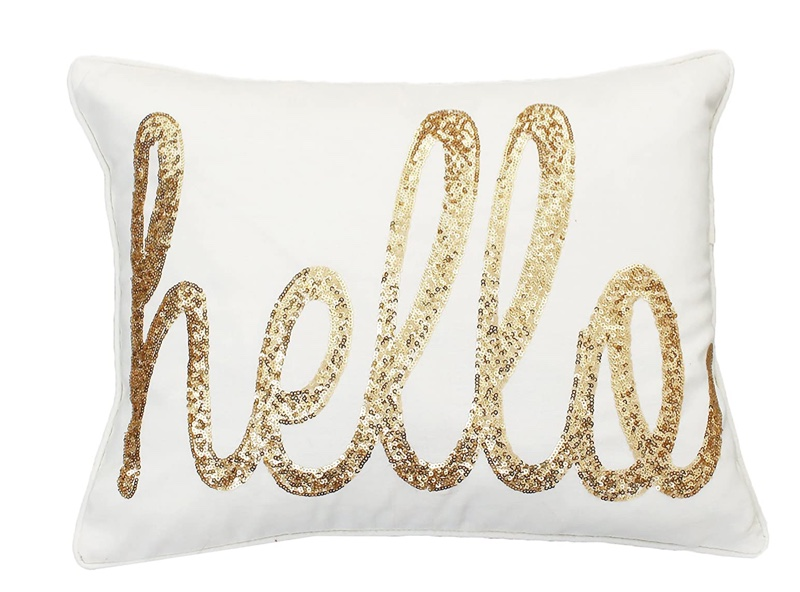 Thro by Marlo Lorenz Hello Sequin Decorative Pillow in Cream $46.74