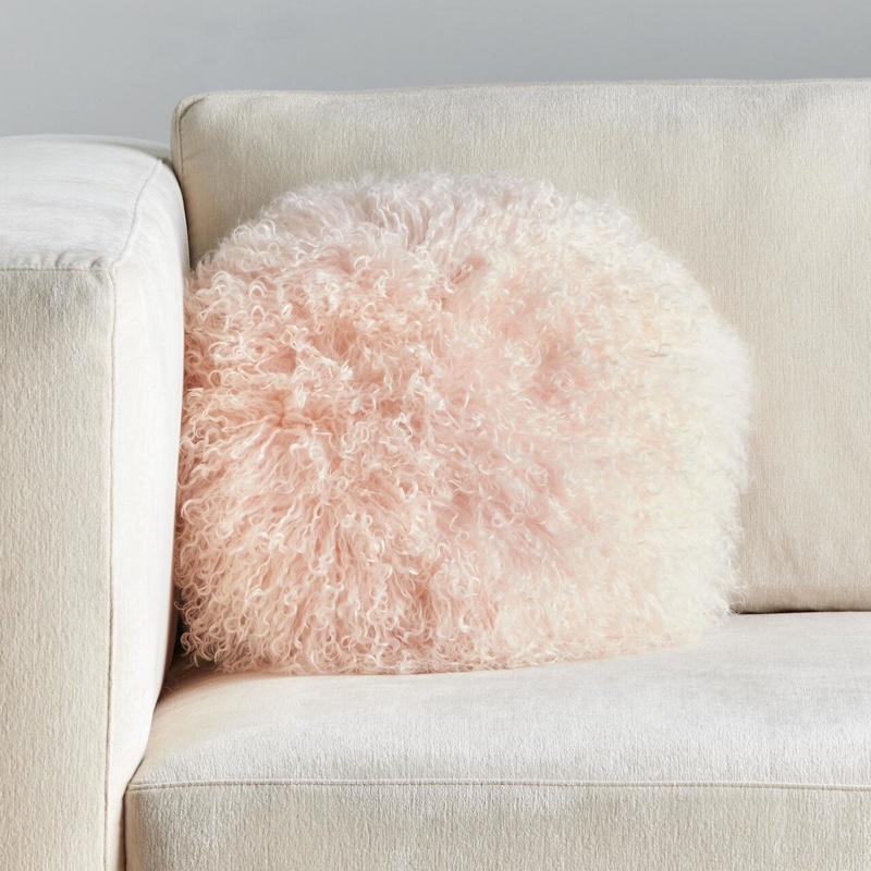 Z Gallerie Mongolian Round Pillow in Pink $78.99