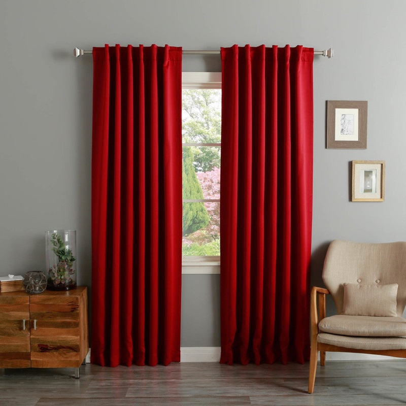 Aurora Home Solid Insulated Thermal Blackout Curtain Panel in Cardinal Red $71.49