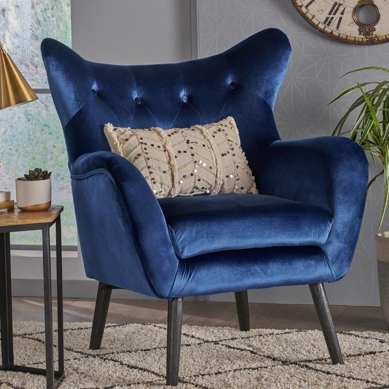 Christopher Knight Home Alyssa Velvet Mid-Century Arm Chair in Blue $297.49
