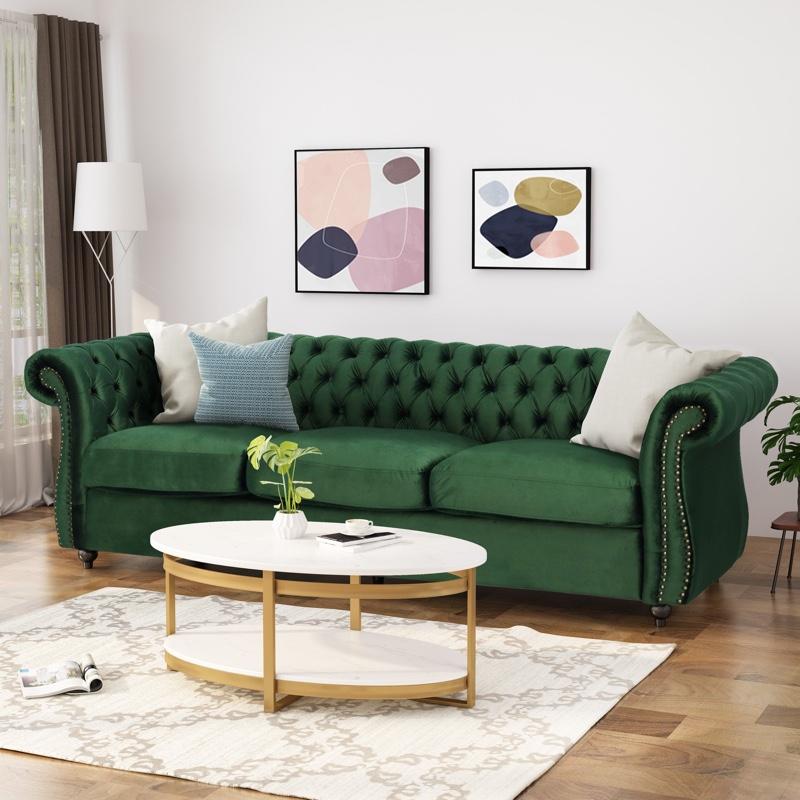 Christopher Knight Home Somerville Chesterfield Tufted Velvet Sofa in Emerald $678.72